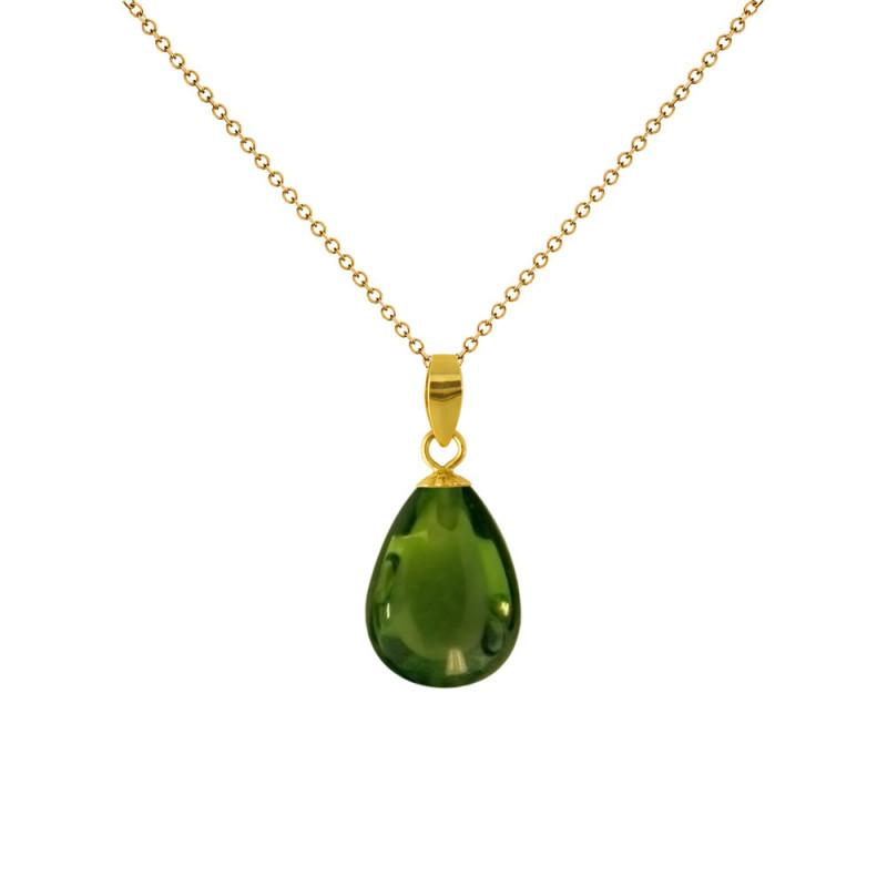 Χρυσό μενταγιόν K18 με Peridot - M120171P