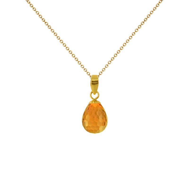 Μενταγιόν με Citrine σε χρυσή βάση Κ18 - M120787C