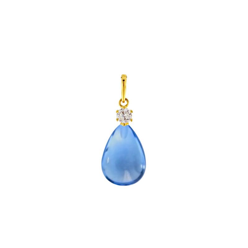 Μενταγιόν Κ14 χρυσό με Blue Topaz - M123216BT
