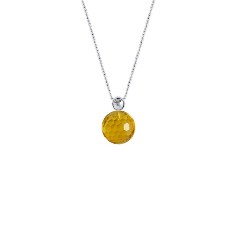 Μενταγιόν με Citrine σε ασημένια βάση 925 με διαμάντι - M123435C