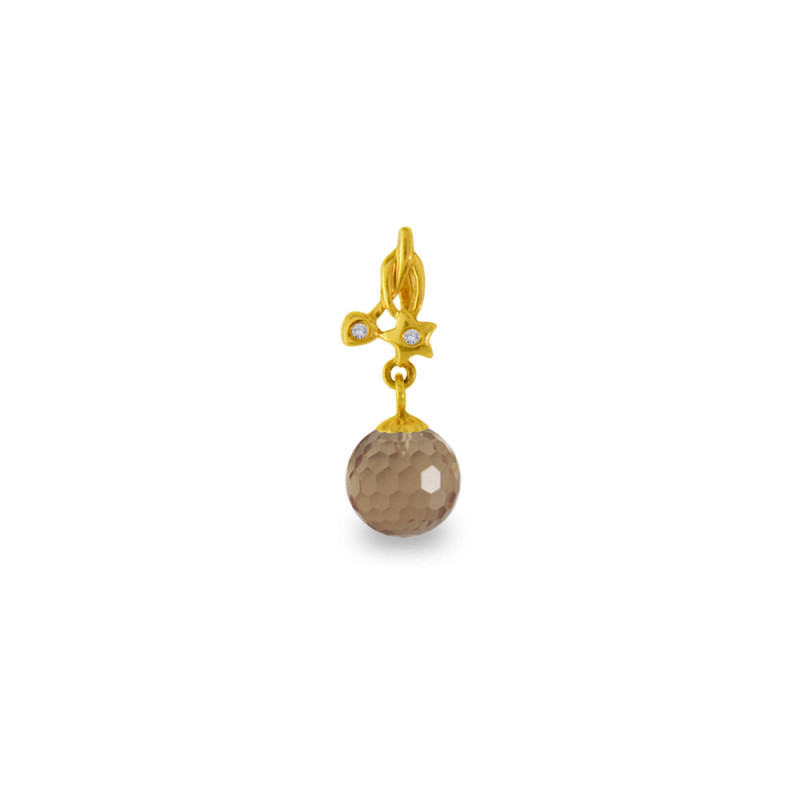 Χρυσό μενταγιόν με Smoked Quartz και διαμάντια - M318449SQ