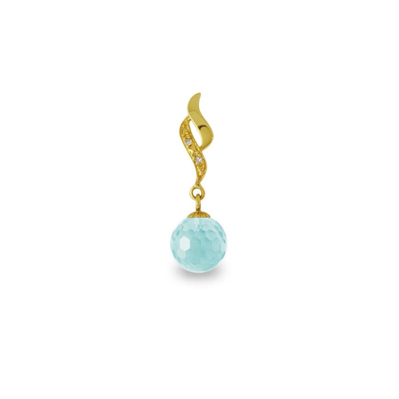 Χρυσό μενταγιόν με Aquamarine και διαμάντια - M318453AQ