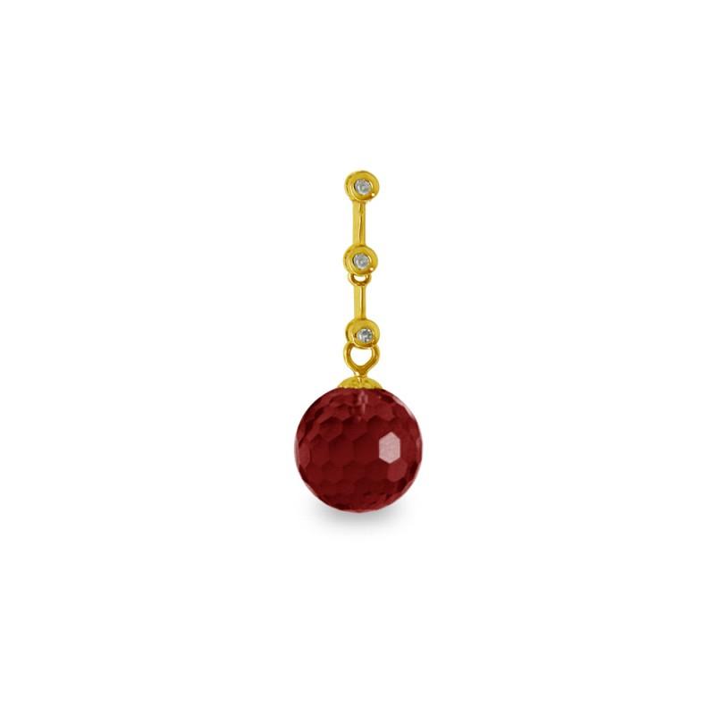 Χρυσό μενταγιόν με Garnet και διαμάντια - M318464G