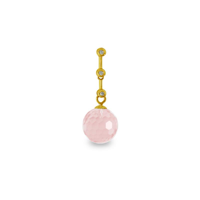 Χρυσό μενταγιόν με Rose Quartz και διαμάντια - M318464RQ