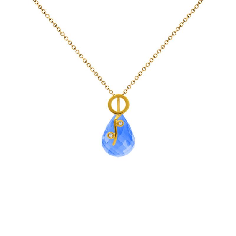 Χρυσό μενταγιόν με Blue Topaz και διαμάντια - M318469BT