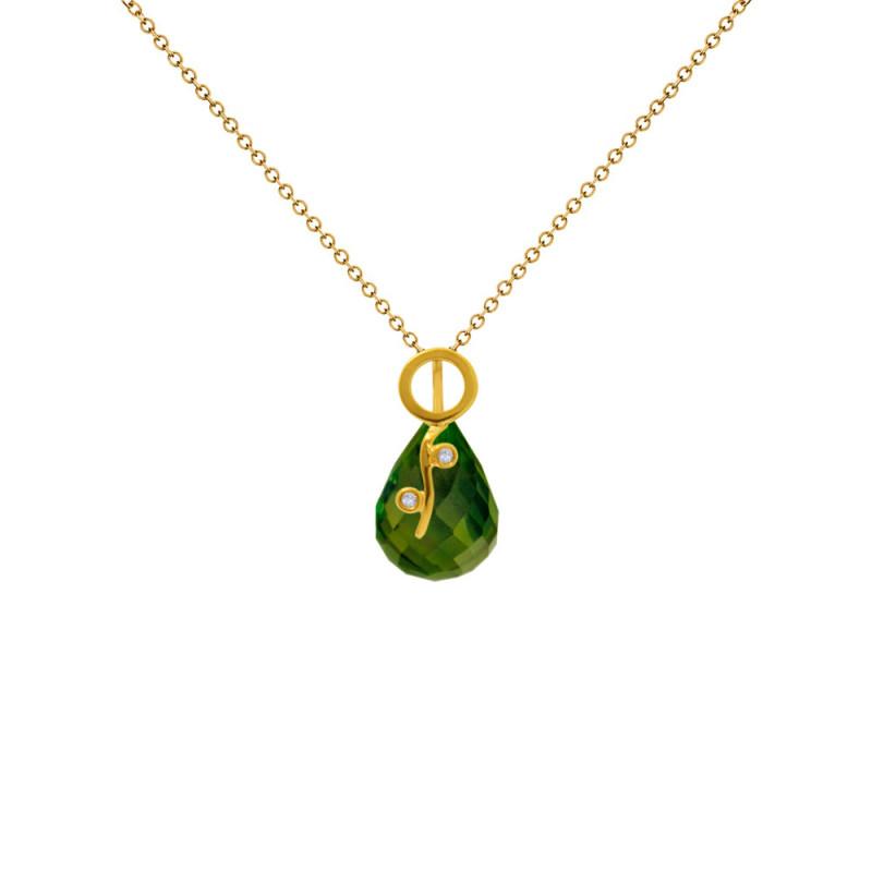 Χρυσό μενταγιόν με Peridot και διαμάντια - M318469P