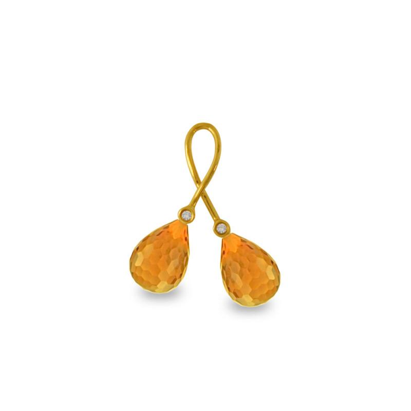 Χρυσό μενταγιόν με Citrine και διαμάντια - M318470C