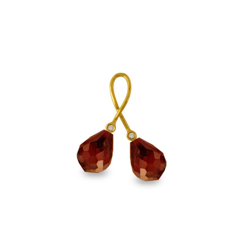 Χρυσό μενταγιόν με Garnet και διαμάντια - M318470G
