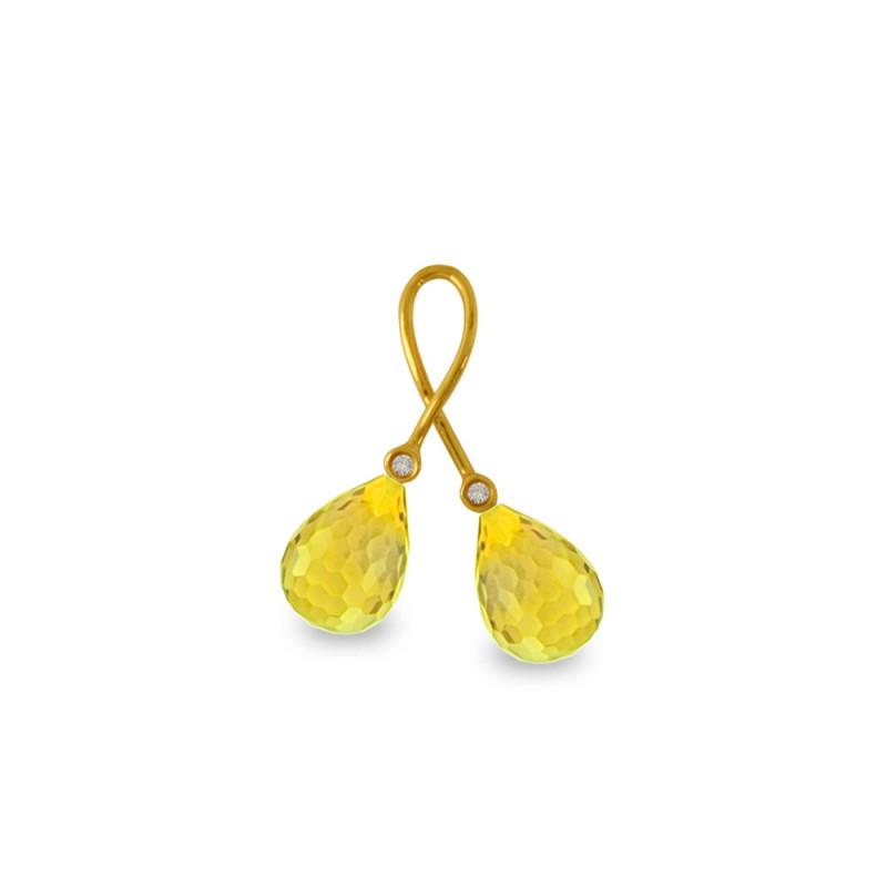 Χρυσό μενταγιόν με Lemon Quartz και διαμάντια - M318470LQ