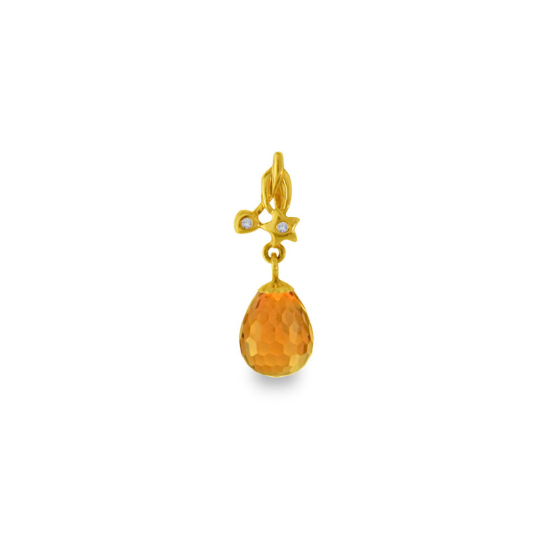Χρυσό μενταγιόν με Citrine και διαμάντια - M318471C