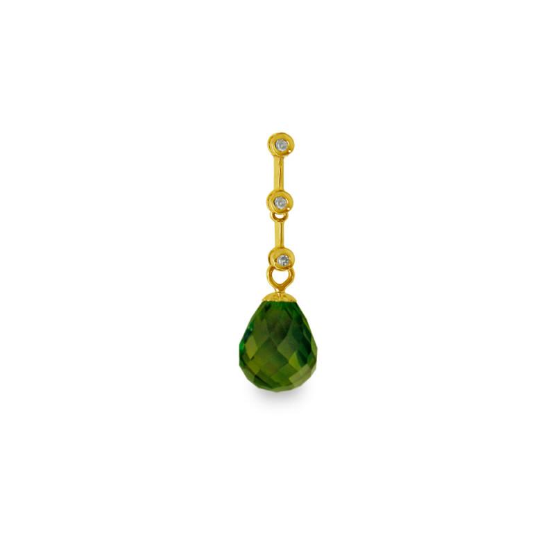 Χρυσό μενταγιόν με Peridot και διαμάντια - M318475P