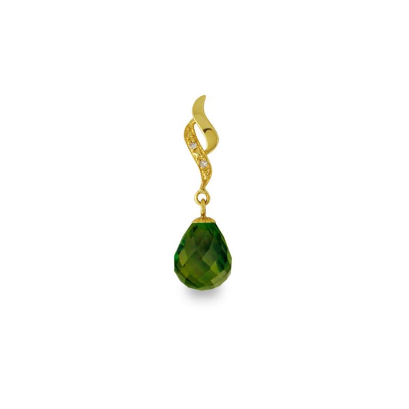 Χρυσό μενταγιόν με Peridot και διαμάντια - M318476P