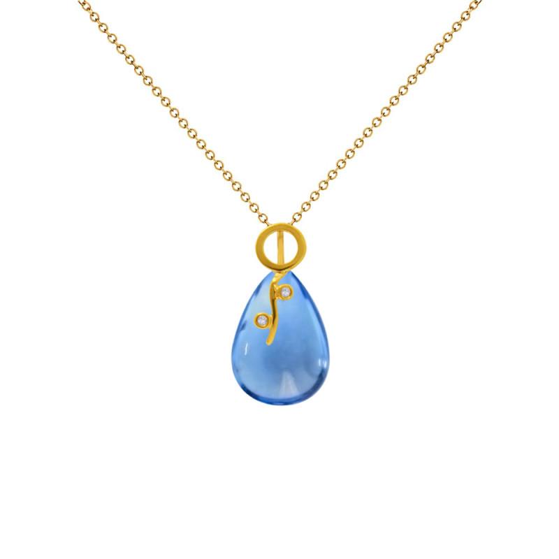 Χρυσό μενταγιόν με Blue Topaz και διαμάντια - M318481BT