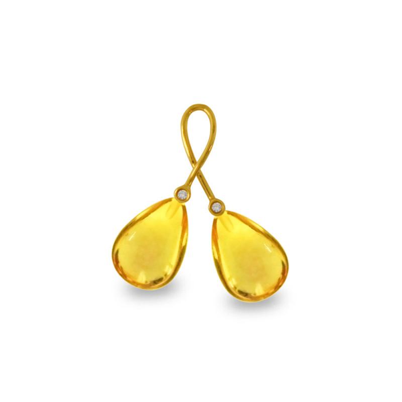 Χρυσό μενταγιόν με Lemon Quartz και διαμάντια - M318482LQ