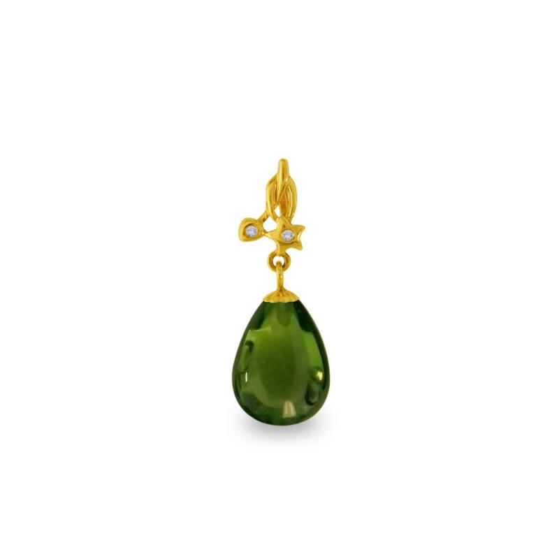 Χρυσό μενταγιόν με Peridot και διαμάντια - M318483P