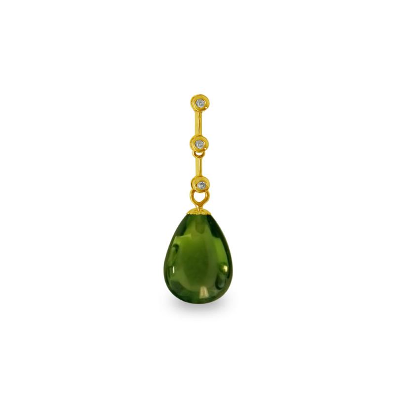 Χρυσό μενταγιόν με Peridot και διαμάντια - M318486P
