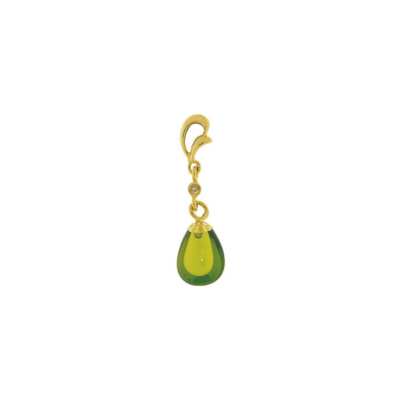 Χρυσό μενταγιόν K18 με περίδοτο και διαμάντι - Μ318487
