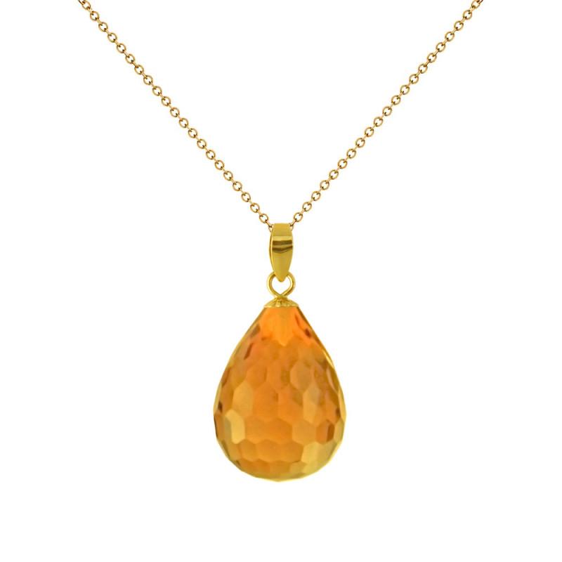 Χρυσό μενταγιόν με Citrine - M318491C