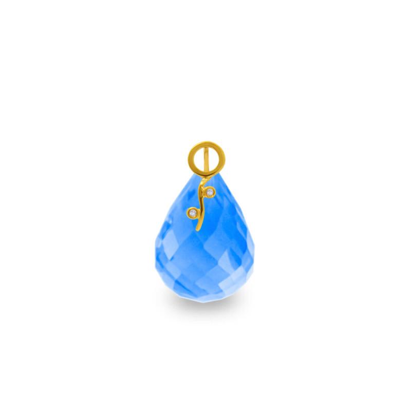 Χρυσό μενταγιόν με Blue Topaz και διαμάντια - M318493BT