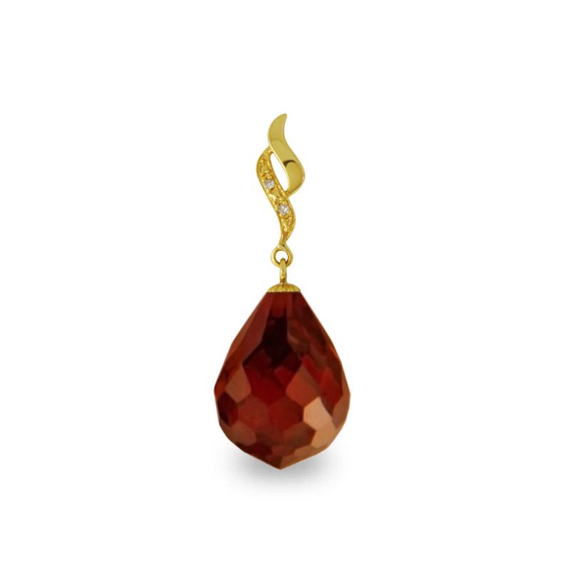 Χρυσό μενταγιόν με Garnet και διαμάντια - M318501G