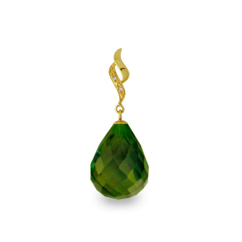Χρυσό μενταγιόν με Peridot και διαμάντια - M318501P