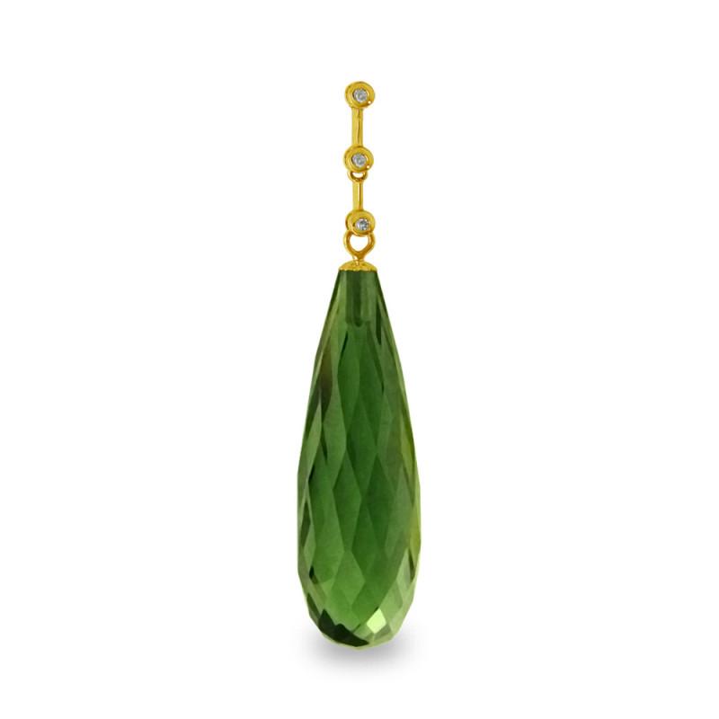 Χρυσό μενταγιόν με Peridot και διαμάντια - M318512P