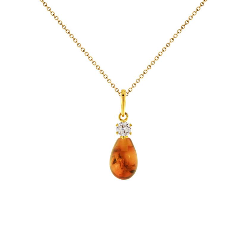 Μενταγιόν χρυσό Κ14 με κεχριμπάρι και ζιργκόν - M123216AMB