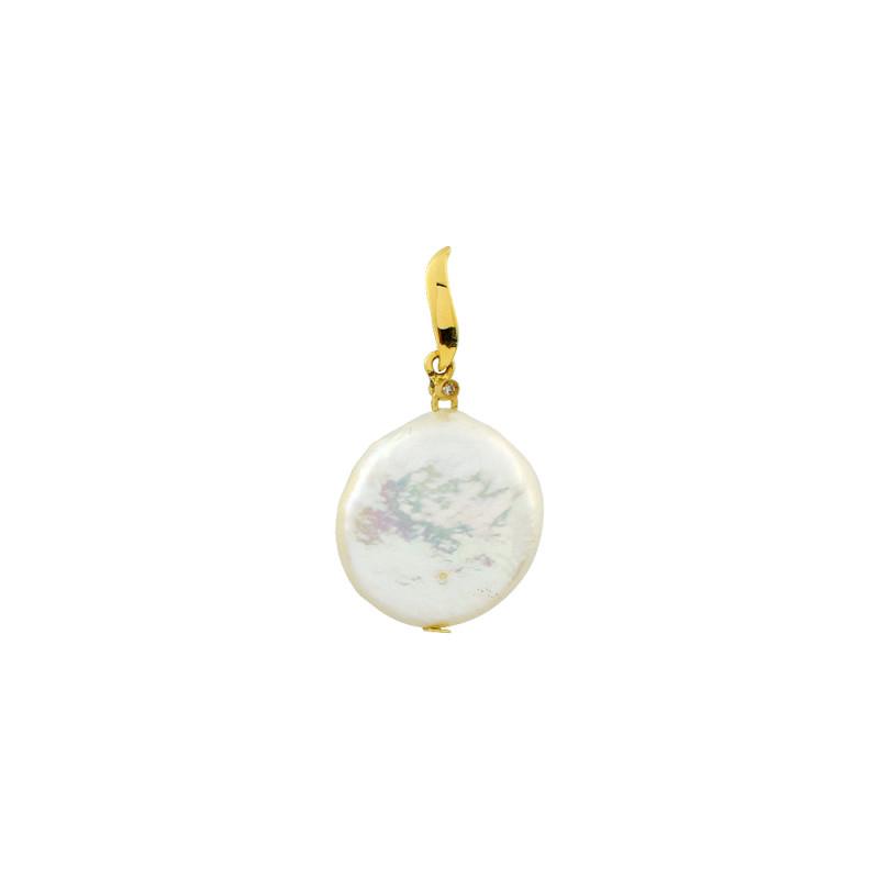 Μενταγιόν με λευκό μαργαριτάρι και διαμάντι K18 - G122673
