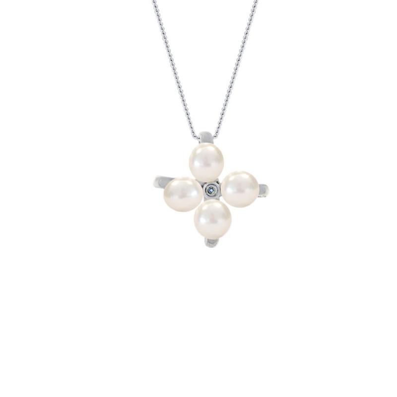 Μενταγιόν με μαργαριτάρια σε ασημένια βάση με διαμάντι - M117756P