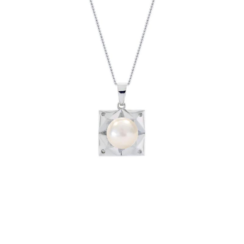 Μενταγιόν με μαργαριτάρι σε ασημένια βάση με διαμάντια - M117759P