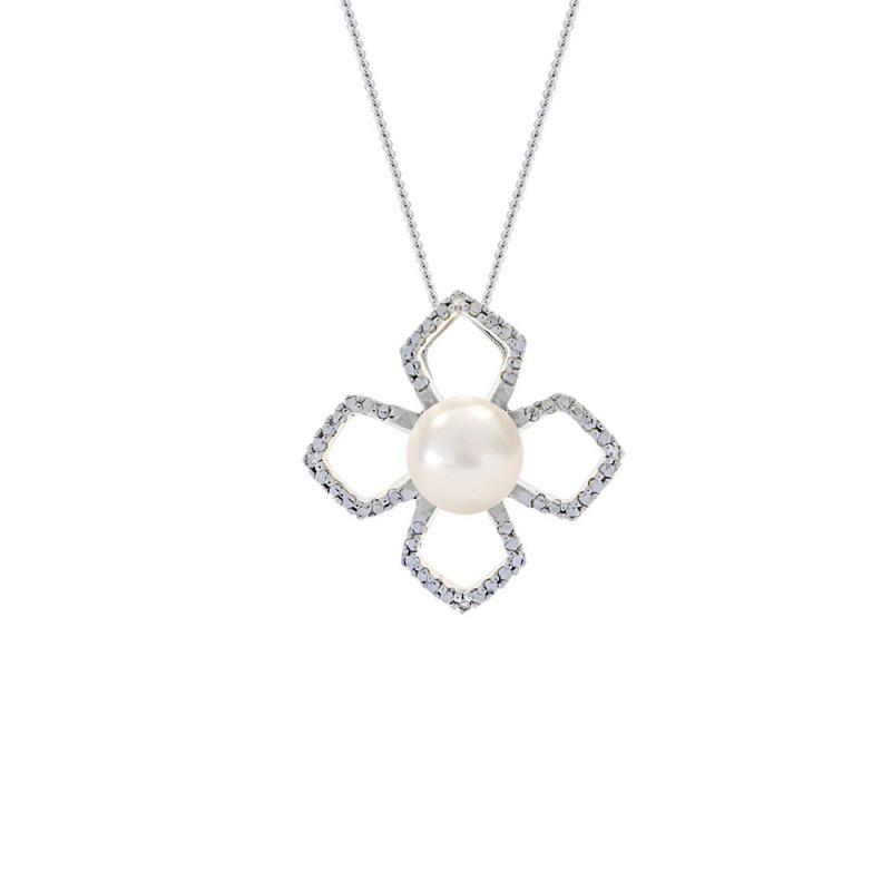 Μενταγιόν με μαργαριτάρι σε ασημένια βάση με διαμάντια - M117760P