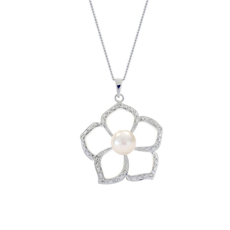 Μενταγιόν με μαργαριτάρι σε ασημένια βάση με διαμάντια - M117764P