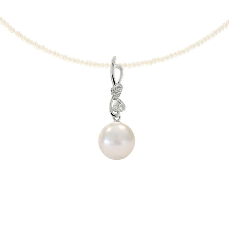 Μενταγιόν με λευκό μαργαριτάρι και διαμάντια σε λευκόχρυσο Κ18 - M315818