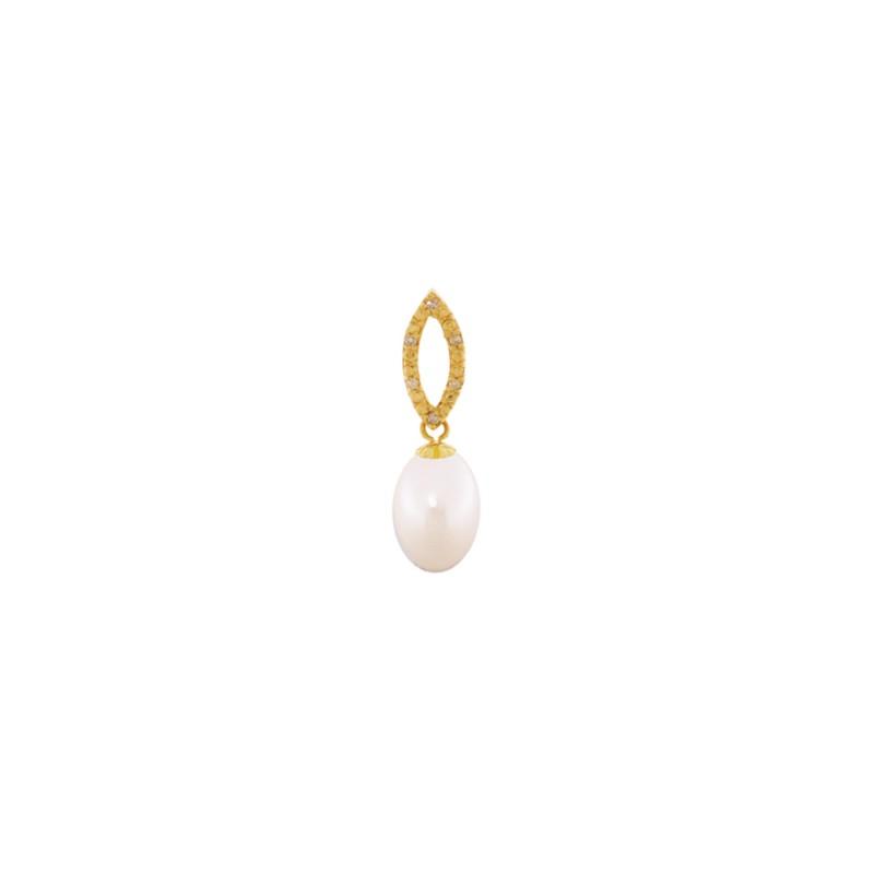 Μενταγιόν με λευκό μαργαριτάρι και διαμάντια - G318898