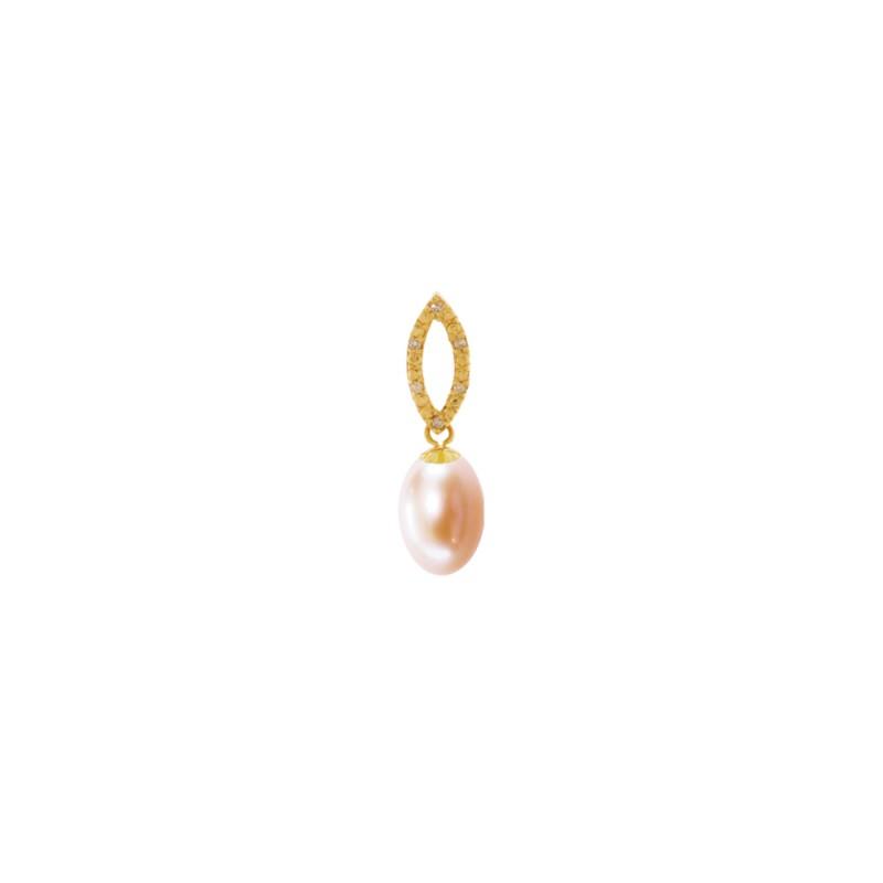 Μενταγιόν με σομόν μαργαριτάρι και διαμάντια - G318898S