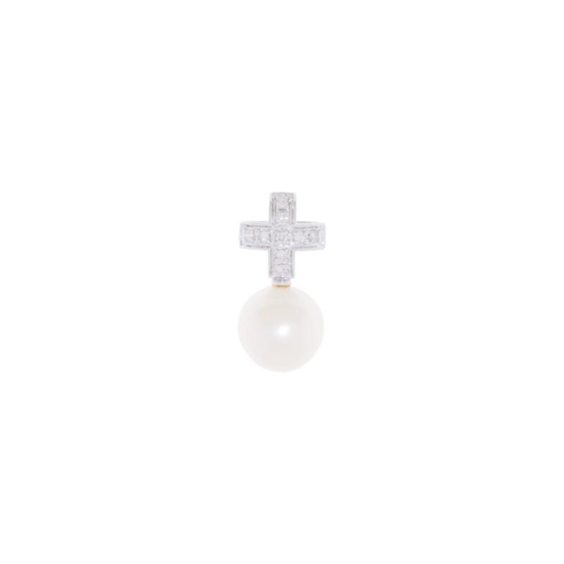 Μενταγιόν με λευκό μαργαριτάρι και διαμάντια - W319012