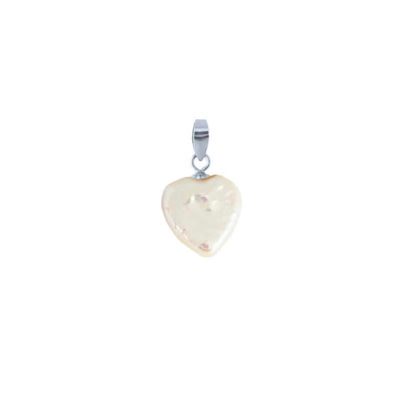 Μενταγιόν με λευκό μαργαριτάρι και ασημένια βάση 925 - M909091