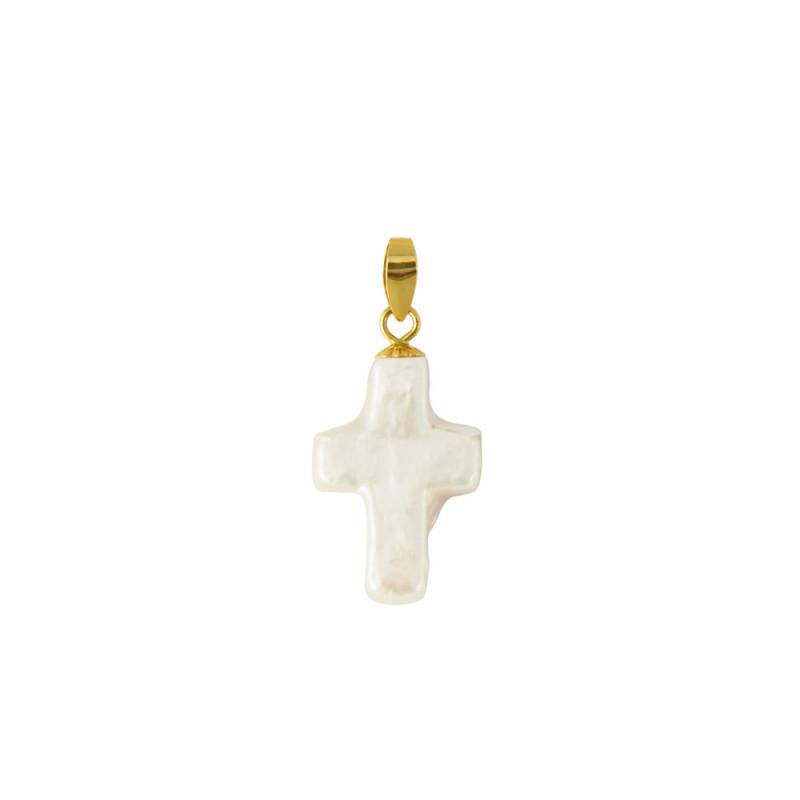 Μενταγιόν με λευκό μαργαριτάρι και χρυσή βάση 18Κ - G319952
