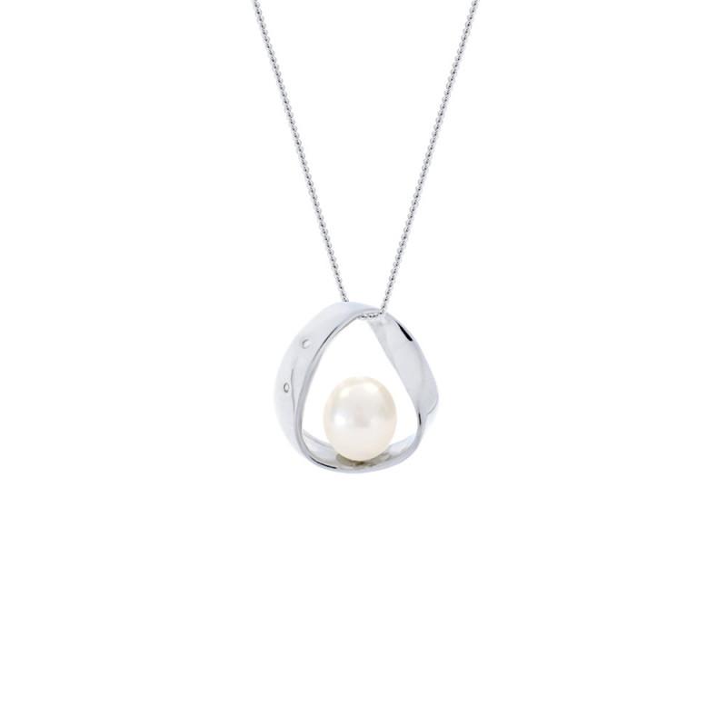 Μενταγιόν με μαργαριτάρι σε ασημένια βάση με διαμάντια - S117805
