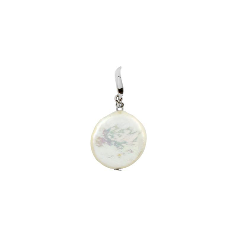 Μενταγιόν με λευκό μαργαριτάρι και διαμάντι K18 - W122673