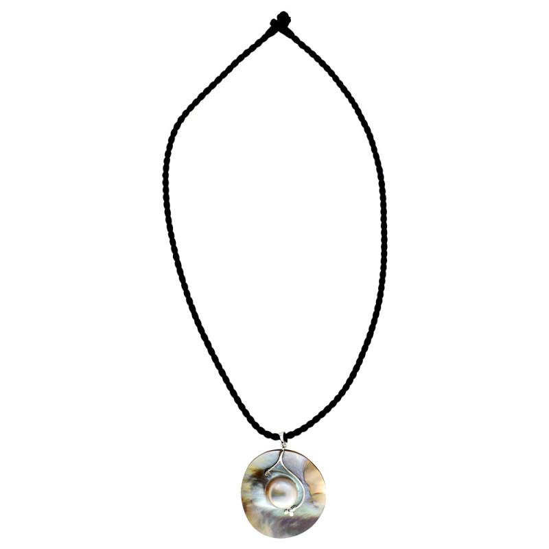 Μενταγιόν με λευκό μαργαριτάρι και διαμάντια - W317329