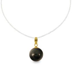 Χρυσό μενταγιόν με μαύρο Shell Pearl - M316661B