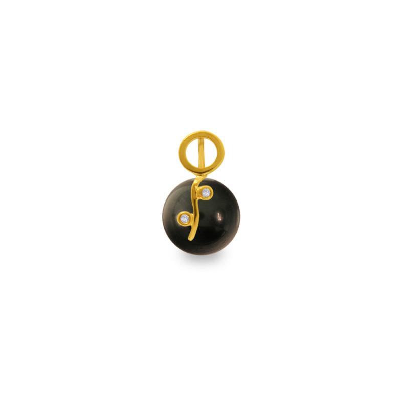 Χρυσό μενταγιόν με μαύρο Shell Pearl και διαμάντια - M319971B