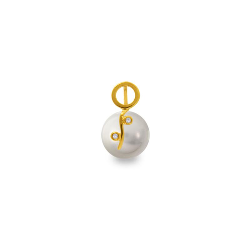 Χρυσό μενταγιόν με γκρι Shell Pearl και διαμάντια - M319971G