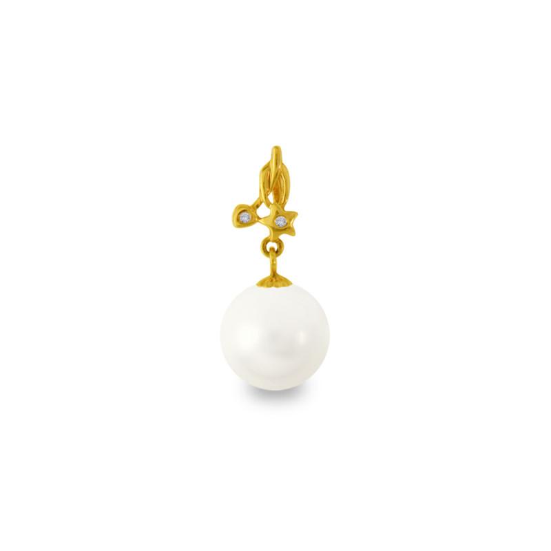 Χρυσό μενταγιόν με λευκό Shell Pearl και διαμάντια - M319972