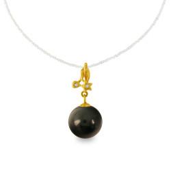 Χρυσό μενταγιόν με μαύρο Shell Pearl και διαμάντια - M319972B