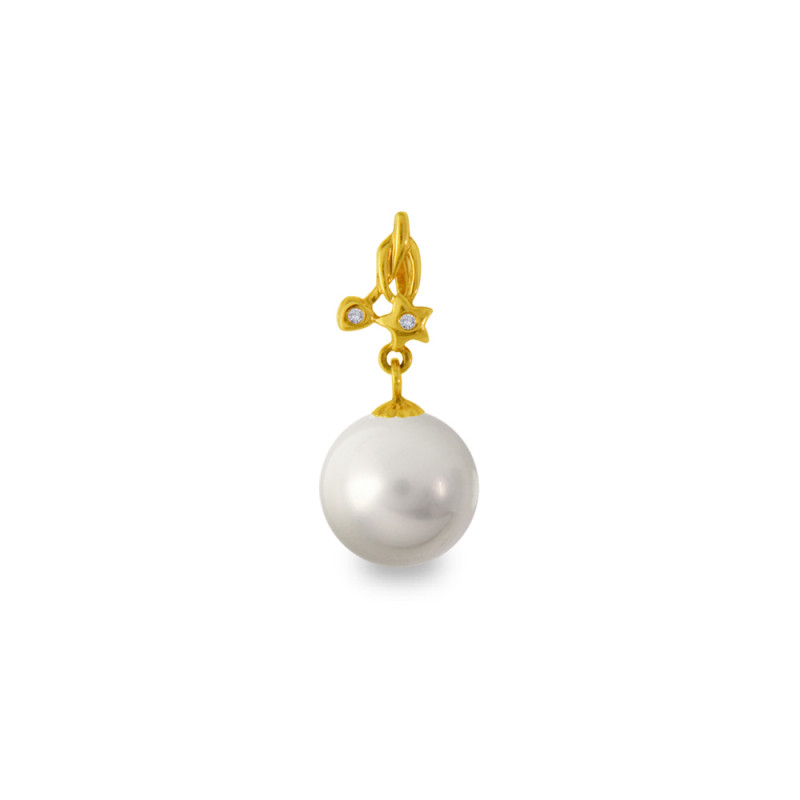 Χρυσό μενταγιόν με γκρι Shell Pearl και διαμάντια - M319972G