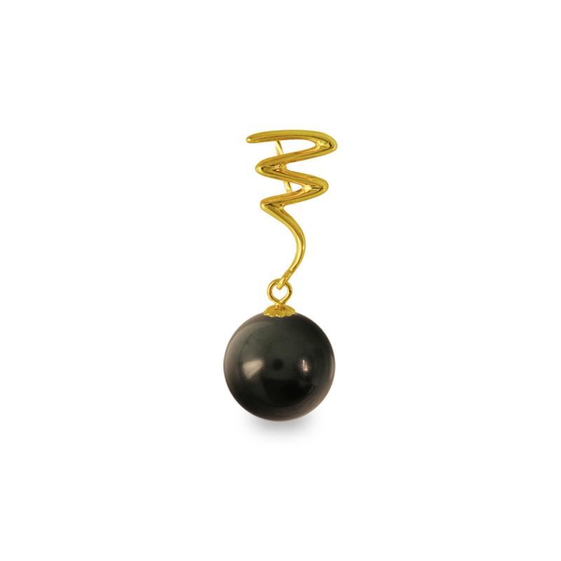 Χρυσό μενταγιόν με μαύρο Shell Pearl - M319975B