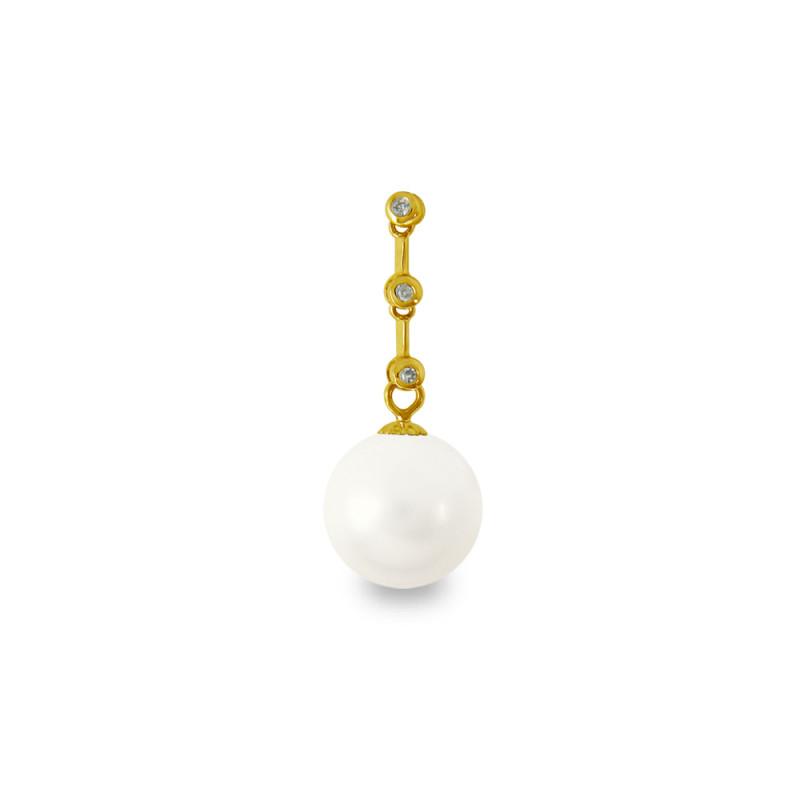 Χρυσό μενταγιόν με λευκό Shell Pearl και διαμάντια - M319976