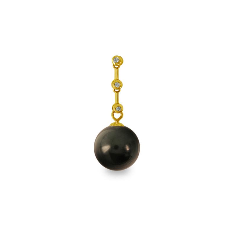 Χρυσό μενταγιόν με μαύρο Shell Pearl και διαμάντια - M319976B